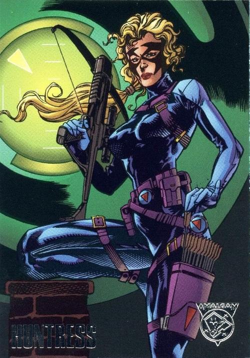 Merging (universes)-Huntress-Amalgam trading cards