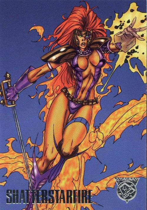 Merging (universes)-Shatterstarfire-Amalgam trading cards