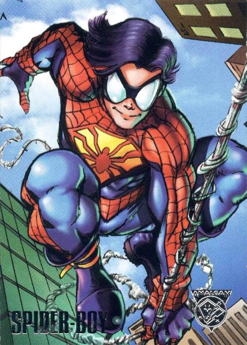 Merging (universes)-Spider-Boy-Amalgam trading cards
