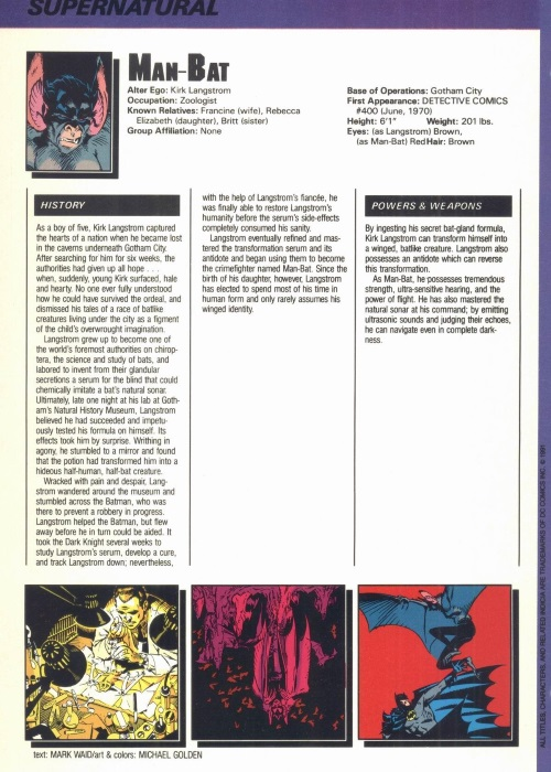 Bat Mimicry-Man-Bat-Who's Who in the DC Universe #12
