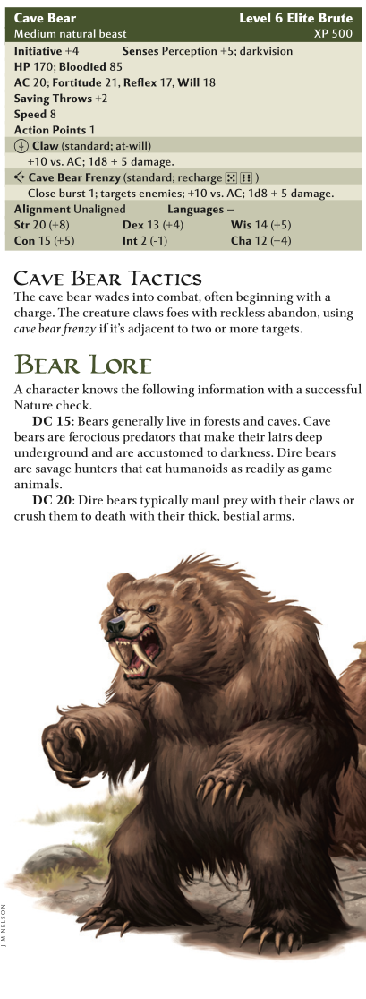 Bear Mimicry-Cave Bear-D&D 4th Edition - Monster Manual 1