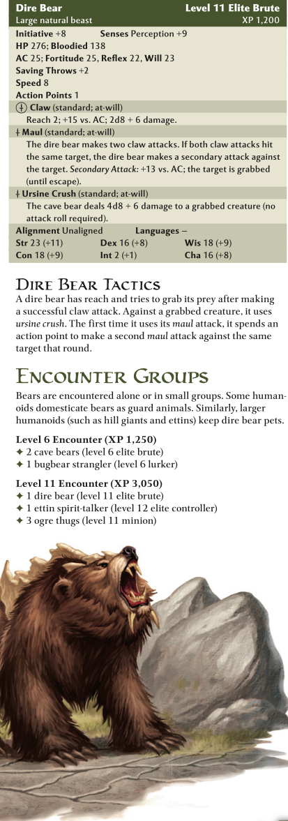 Bear Mimicry-Dire Bear-D&D 4th Edition - Monster Manual 1