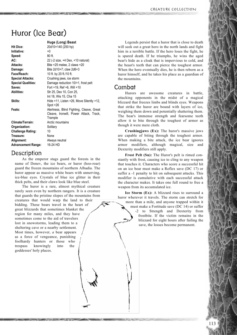 Bear Mimicry-Huror (Ice Bear)-Creature Collection I