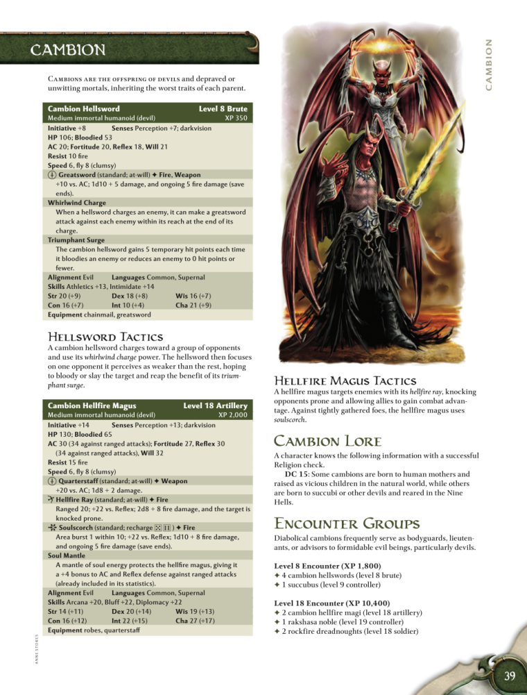 Demon Mimicry-Cambion-D&D 4th Edition - Monster Manual 1