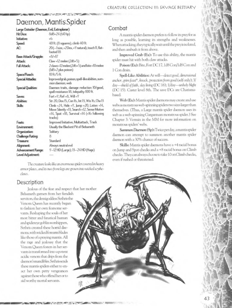 Demon Mimicry-Mantis Spider-Creature Collection III. Savage Bestiary