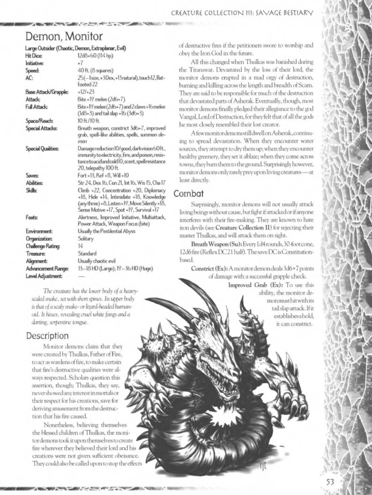 Demon Mimicry-Monitor Demon-Creature Collection III. Savage Bestiary