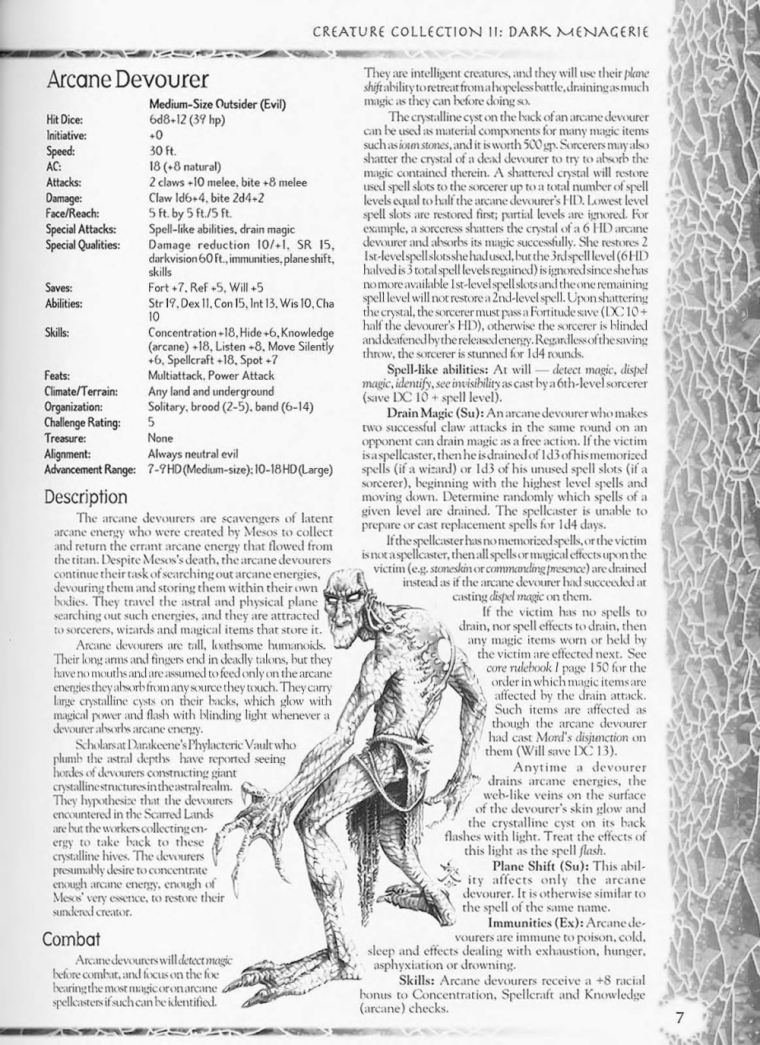 Energy Absorption-D&D-Arcane Devourer-Creature Collection II. Dark Menagerie