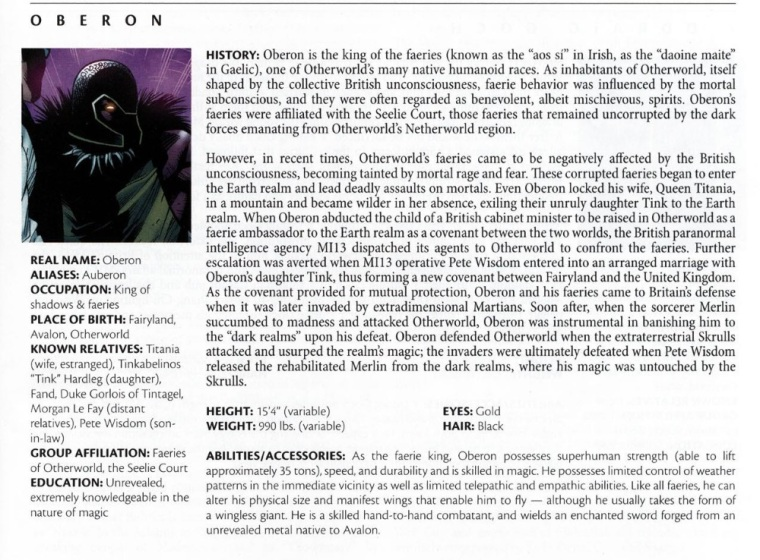 Fey Mimicry-Oberon-Official Handbook of the Marvel Universe #1 (2009)