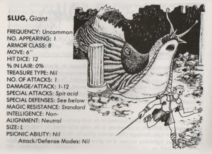 Gastropod Mimicry-D&D-Giant Slug-AD&D 1st-Monster Manual