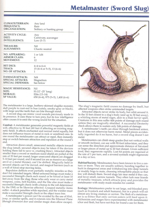 gastropod-mimicry-metalmaster-sword-slug-tsr-2145-monstrous-compendium-annual-volume-1