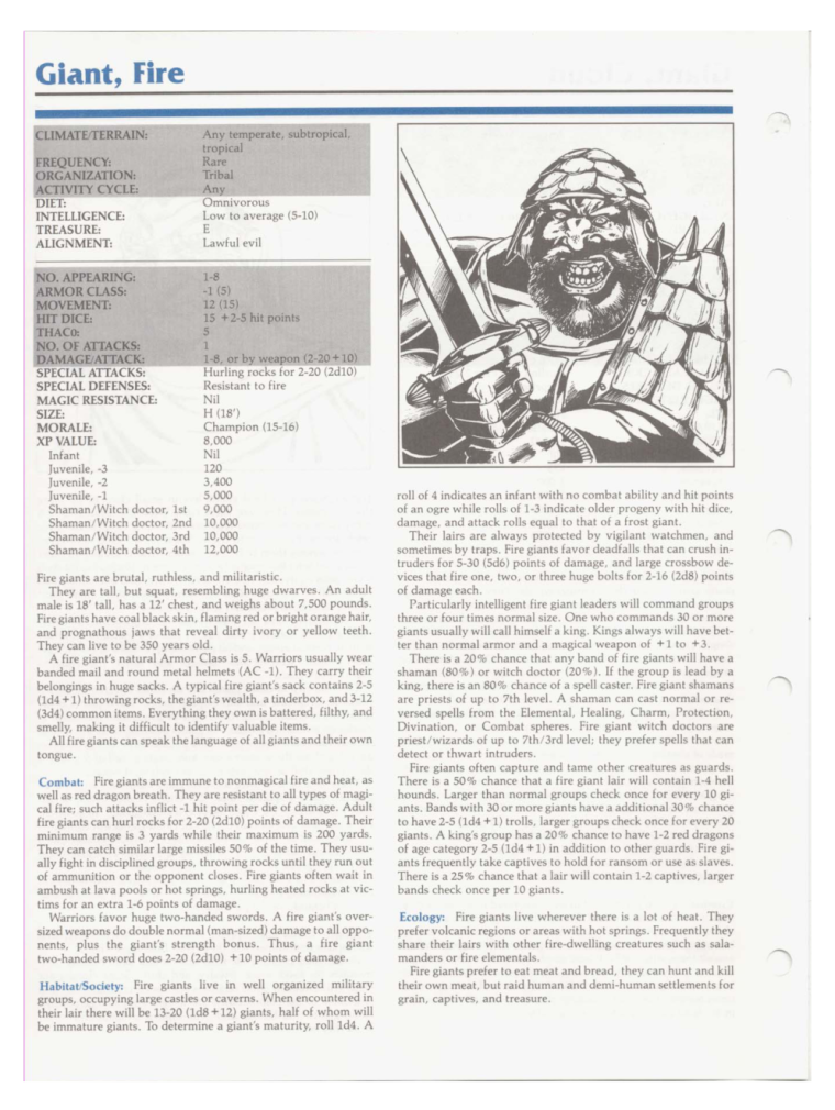 Giant Mimicry-D&D-Fire Giant-TSR 2102 MC1 Monstrous Compendium