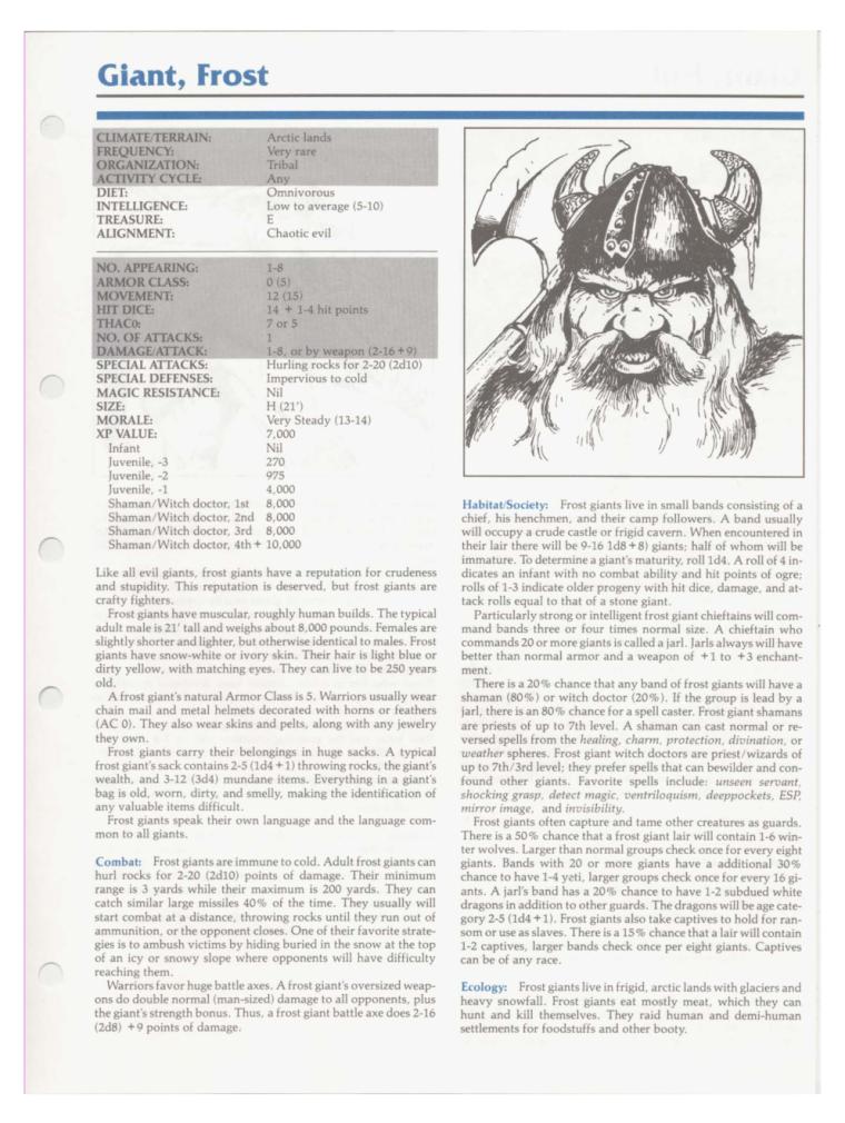 Giant Mimicry-D&D-Frost Giant-TSR 2102 MC1 Monstrous Compendium
