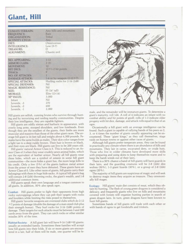 Giant Mimicry-D&D-Hill Giant-TSR 2102 MC1 Monstrous Compendium