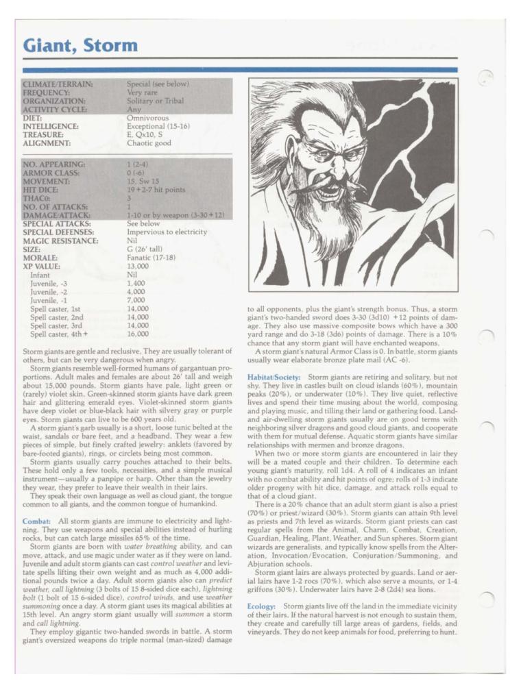 Giant Mimicry-D&D-Storm Giant-TSR 2102 MC1 Monstrous Compendium