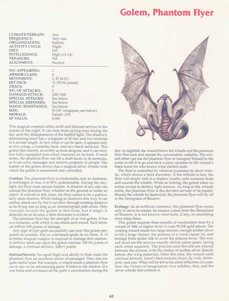 golem-mimicry-dd-phantom-flyer-golem-tsr-2158-monstrous-compendium-annual-volume-2