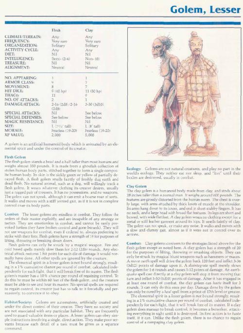 golem-mimicry-lesser-golem-tsr-2140a-monstrous-manual