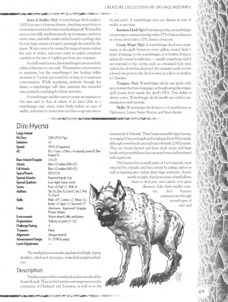 Hyena Mimicry-D&D-Dire Hyena-Creature Collection III. Savage Bestiary