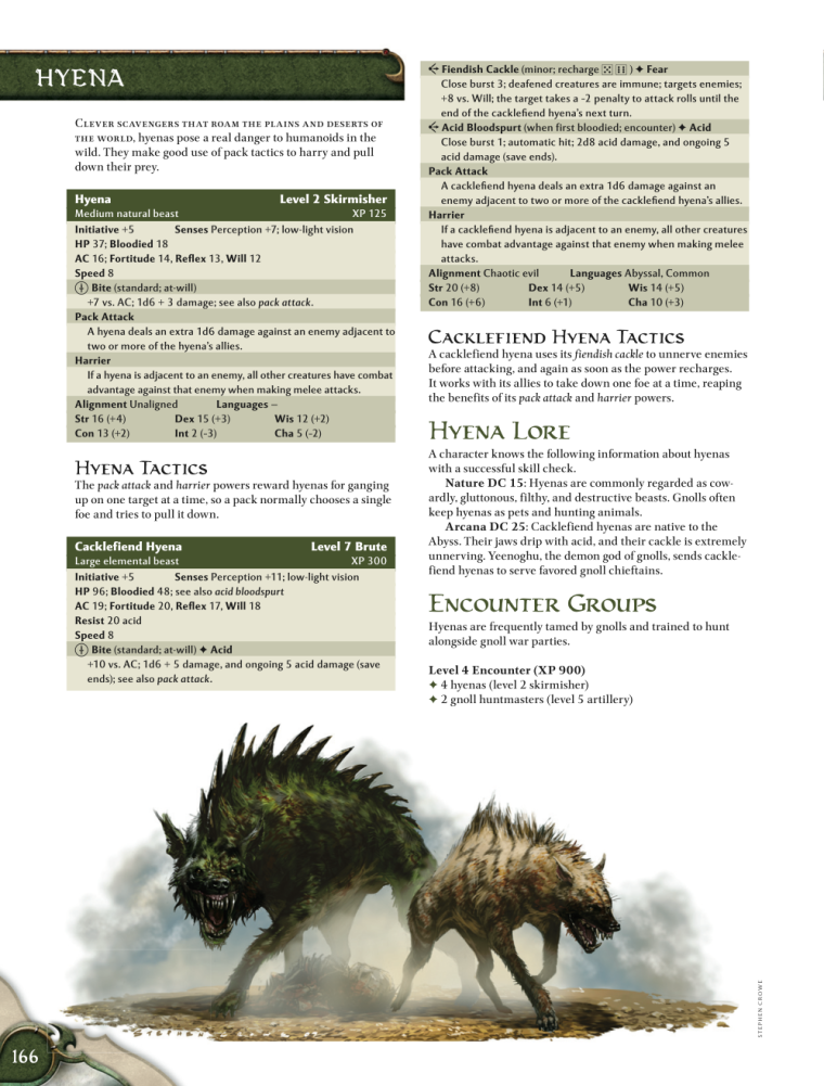 Hyena Mimicry-D&D-Hyena-D&D 4th Edition - Monster Manual 1