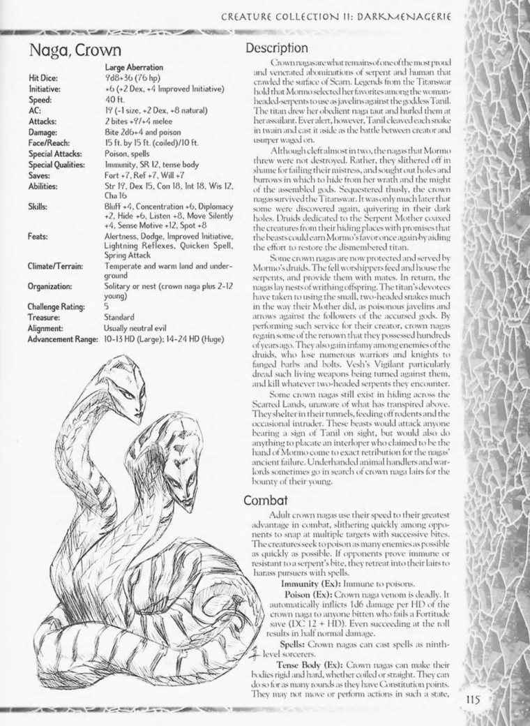 Snake Mimicry-D&D-Crown Naga-Creature Collection II. Dark Menagerie