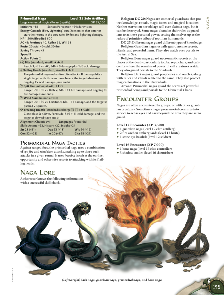 Snake Mimicry-D&D-Primordial Naga-D&D 4th Edition - Monster Manual 1