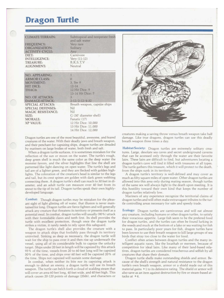 Turtle Mimicry-D&D-Dragon Turtle-TSR 2102 MC1 Monstrous Compendium
