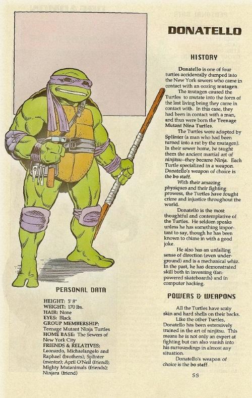 Turtle Mimicry-TMNT--Donatello-TMNT Mutant Universe Sourcebook #1