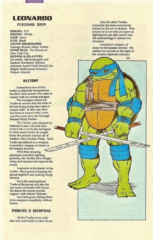 Turtle Mimicry-TMNT--Leonardo-TMNT Mutant Universe Sourcebook #1