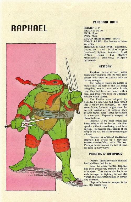 Turtle Mimicry-TMNT--Raphael-TMNT Mutant Universe Sourcebook #2