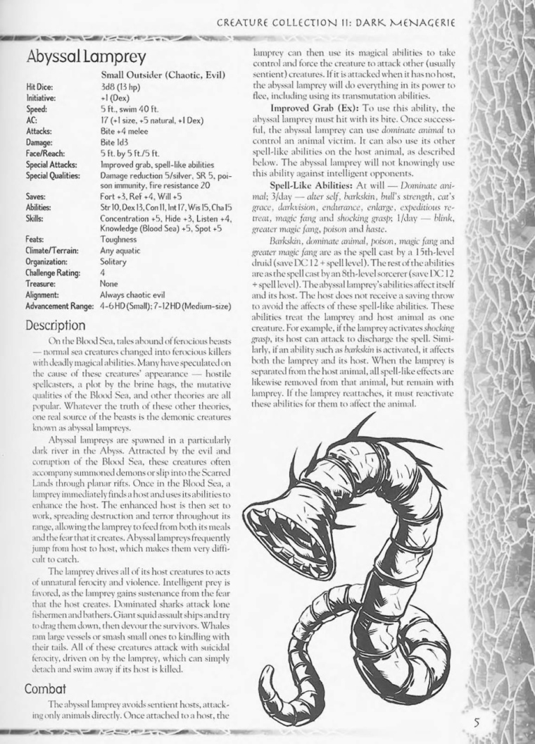 Worm Mimicry-D&D-Abyssal Lamprey-Creature Collection II. Dark Menagerie