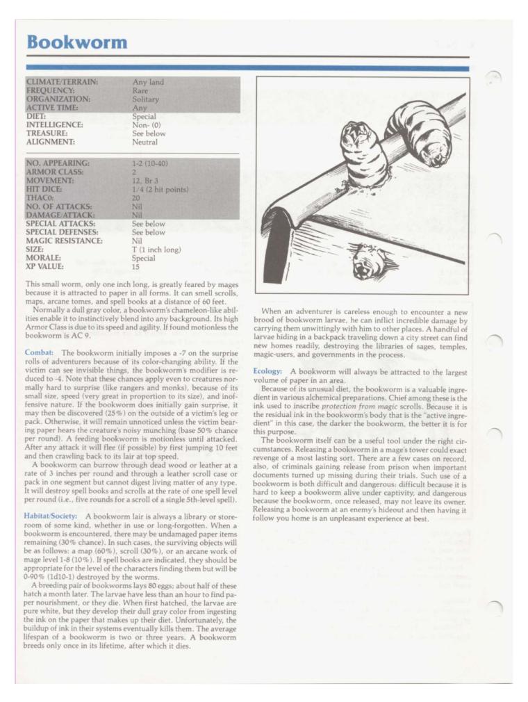 Worm Mimicry-D&D-Bookworm-TSR 2102 MC1 Monstrous Compendium